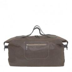 Arron Waxed Canvas Travel Bag Dark Brown