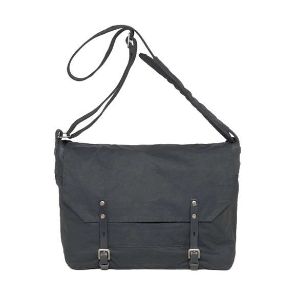 Jeremy Waxed Cotton Satchel Black