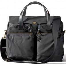 "24-Hour Tin Cloth Briefcase 15"" Black Messenger Taske"