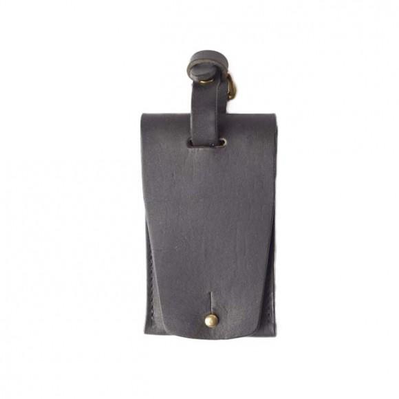 Leather Luggage Tag Black