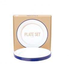 Set de 4 assiettes plates Email Blanc / Bleu