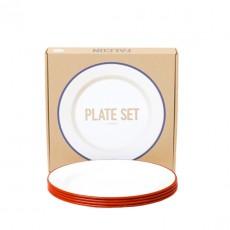 Set de 4 assiettes plates Email Rouge