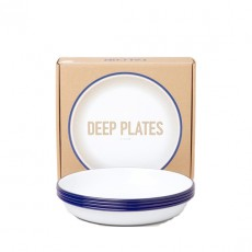 Set of 4 Deep Plates White and Blue
