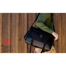 Commuter Briefcase Cuir et Ballistic Noir