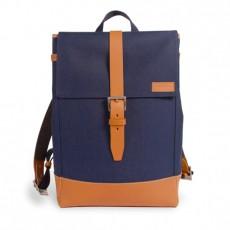Menilmontant Backpack Navy Cordura Camel Leather