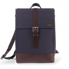 Menilmontant Backpack Navy Cordura Brown Leather