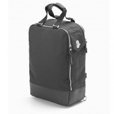 Daypack Black Leather Canvas