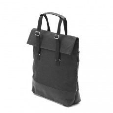 Day Tote Black Leather Canvas