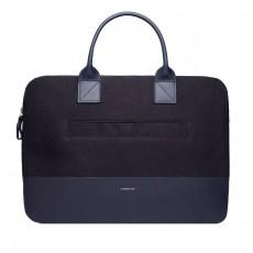 Seth Black Twill Navy Leather