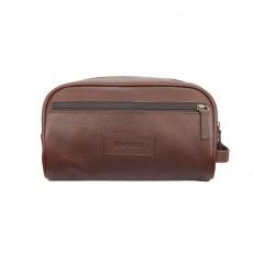 Leather Wash Bag Dark Brown