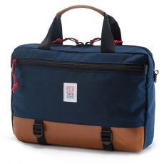 Commuter Briefcase Marine Cuir Marron