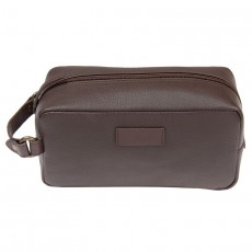 Compact Leather Wash Bag Brown