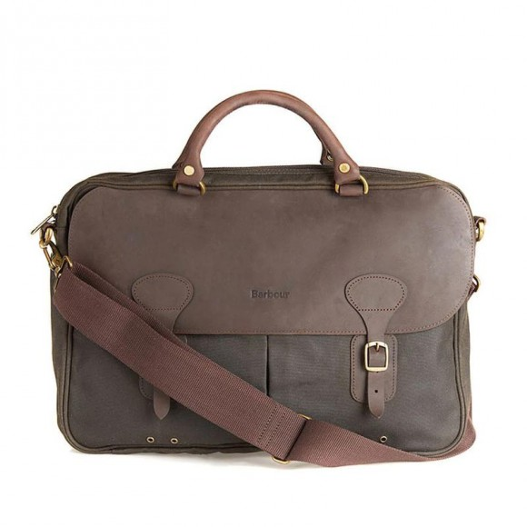 Wax Leather Briefcase Olive